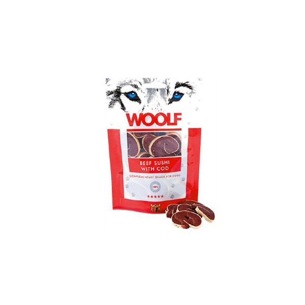 Foto principale Snack per Cani Woolf Gusto Sushi di Manzo e Merluzzo 100gr